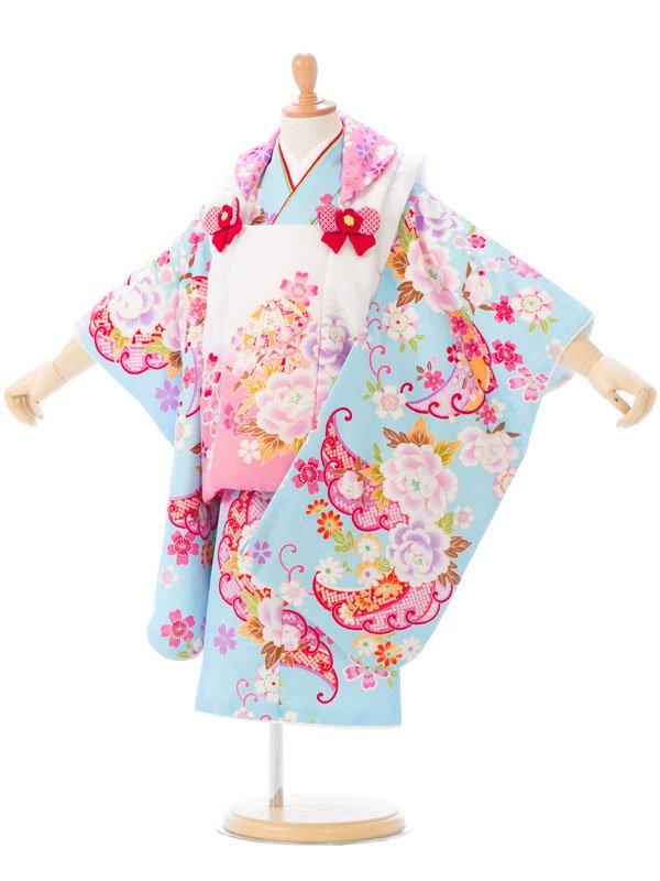 七五三(3歳女)h404F ピンク/水色 牡丹に桜