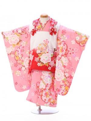 七五三(3歳女)h403A 白/ピンク 牡丹に桜