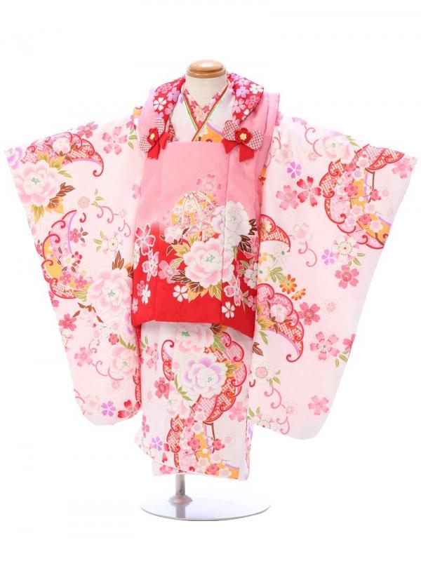 七五三(3歳女)h406B 白地 牡丹に桜