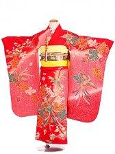 七五三(7歳女袋帯)振袖sftf128赤×ピンク/