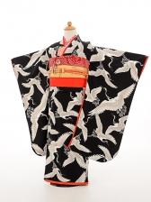 七五三(7歳女結び帯)振袖sftf066黒/鶴の舞