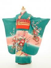 七五三(7歳女結び帯)正絹振袖sftf071緑/花
