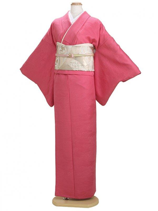 色無地 袷 10月~5月 濃ピンク色 0060