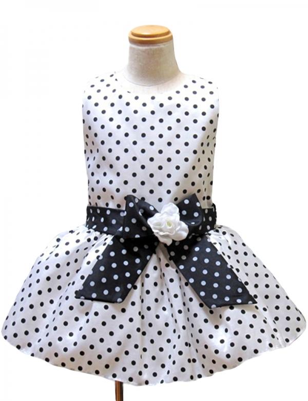 90cm/白地モノトーンドットチュチュドレス