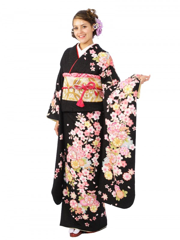 振袖5S347/黒地/ラメ しだれ桜 菊