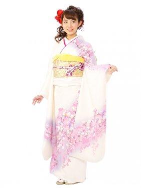 振袖5S215/白地/薄紫 ラメ 下り藤の花