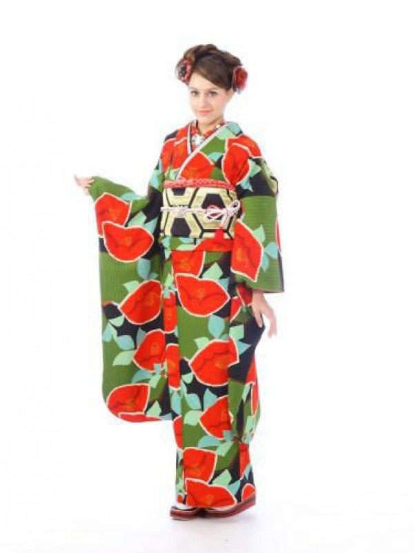 振袖0s0035緑×黒/椿
