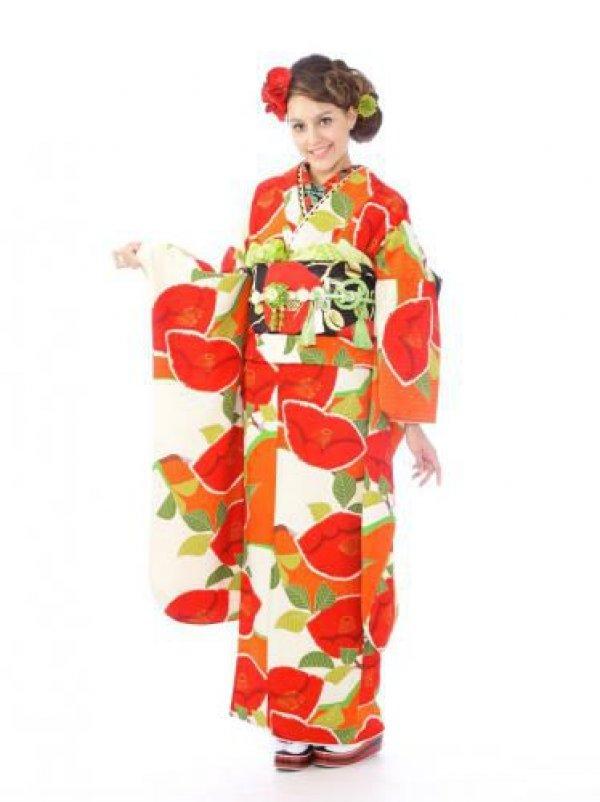 振袖0s0034白×オレンジ/椿