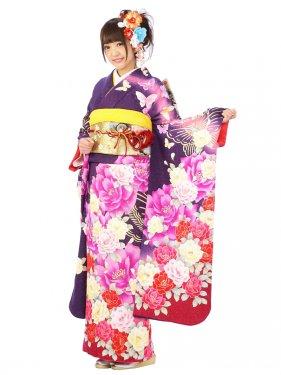 振袖7S051/紫地/ラメ裾ワイン牡丹線書の蝶