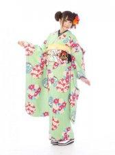 振袖0s0020黄緑×クリーム地/市松に花紋
