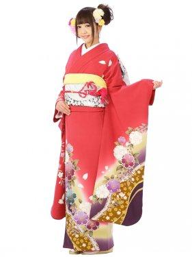 振袖8S144/牡丹地/八重桜