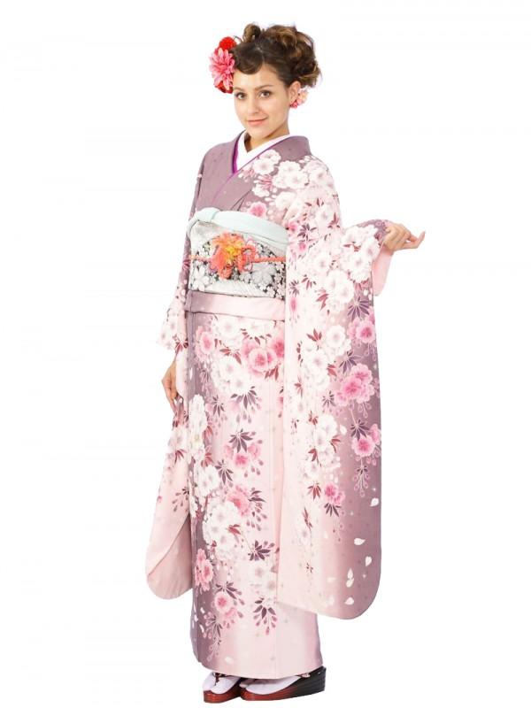 振袖5S768/ローズ地/白ピンク しだれ桜