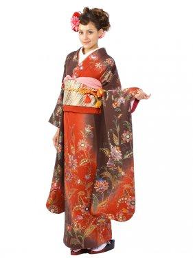 振袖4S514/こげ茶とエンジ地/刺繍 洋花
