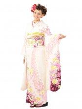 振袖5S487/白地/裾紫ぼかし 蘭の花