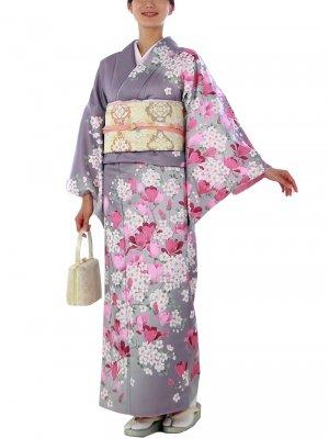 訪問着0006 うす紫地に椿と桜