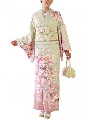訪問着0001 緑地にピンクぼかし菊と桜
