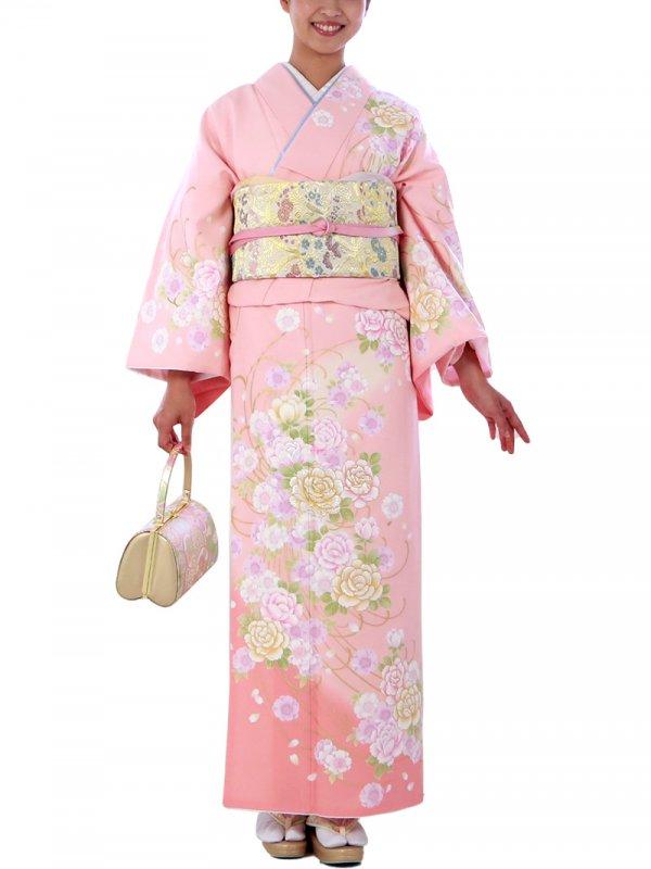 訪問着0030 ピンク地に牡丹と桜
