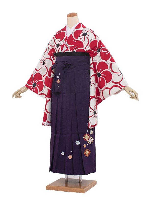 卒業袴レンタル(8351)赤梅/紫袴87