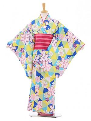 女児着物(130㎝)0004 ブルー黄色 桜