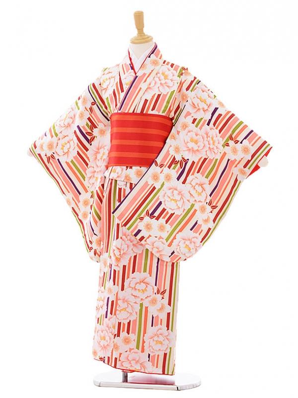 女児着物(130㎝)0002 クリーム色ストライプ牡丹
