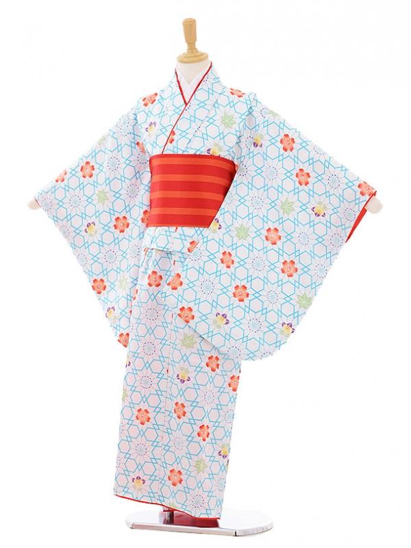 女児着物(130㎝)0003 白地 桜