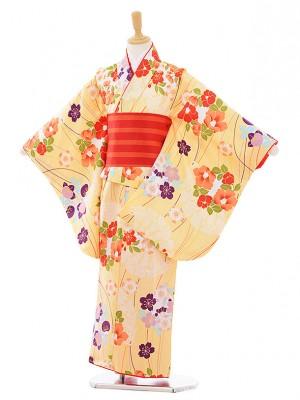 女児着物(130㎝)0001 黄色 桜椿