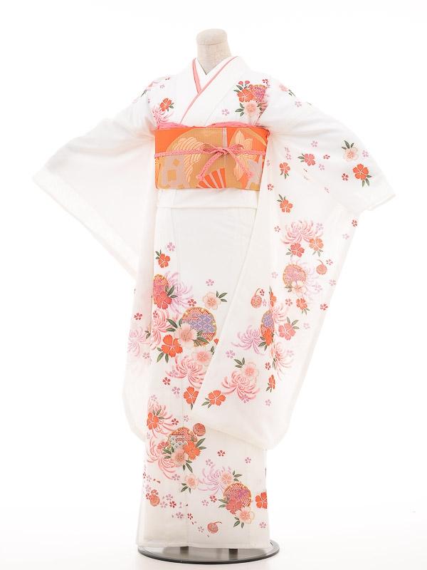 夏振袖レンタルfr003白/撫子菊雪輪