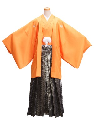 卒業式成人式男性用袴21-24オレンジ 金・黒/幾何学模様 6号