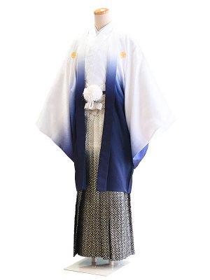 卒業式成人式男性用袴009白×青 8号