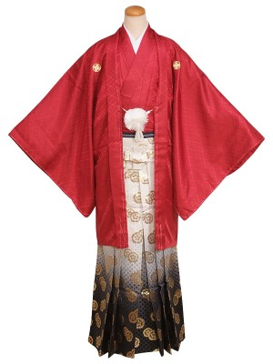 卒業式成人式男性用袴35-35赤|白×黒・金/ぼかし・紋 6号