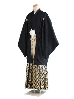 卒業式成人式男性用袴69-69黒|白・黒/金紋 7号