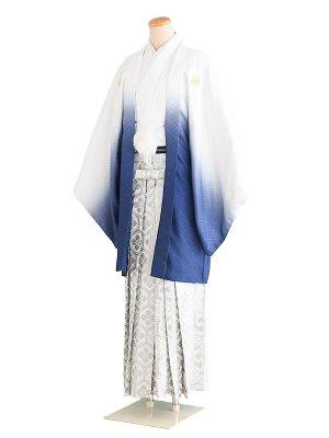 卒業式成人式男性用袴56-56白×青/ぼかし|銀/亀甲 6号