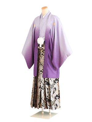 卒業式成人式男性用袴075紫ぼかし|黒金龍 7号