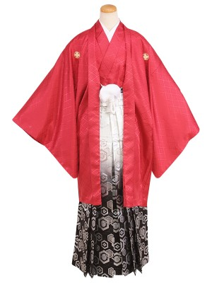 卒業式成人式男性用袴058赤|白・銀/亀甲・ぼかし 7号