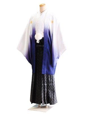 卒業式成人式男性用袴38-38白×青/ぼかし 6号