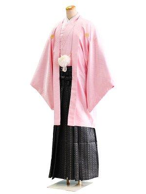 卒業式成人式男性用袴028ピンク|黒・銀/ダイヤ・縞 7号