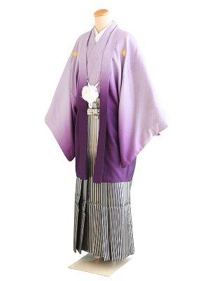 卒業式成人式男性用袴008紫/ぼかし|白/縞 7号