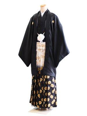 卒業式成人式男性用袴77-77黒 黒白ぼかし/金紋 7号