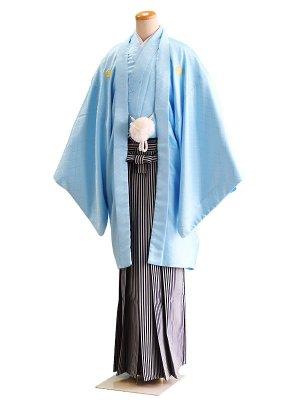 卒業式成人式男性用袴026水色|黒×グレー/縞 8号