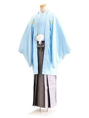 卒業式成人式男性用袴033水色|グレー・銀/縞 6号