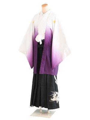 卒業式成人式男性用袴13-12白・紫/ぼかし 6号