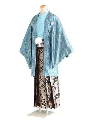 卒業式成人式男性用袴053水色黒銀×水色|黒/龍 6号