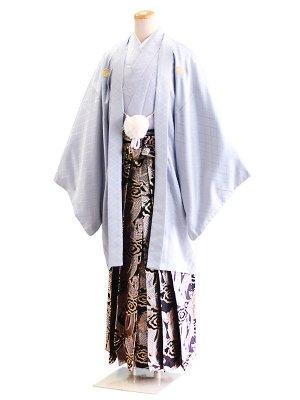 卒業式成人式男性用袴048グレー|黒×金銀/龍 8号