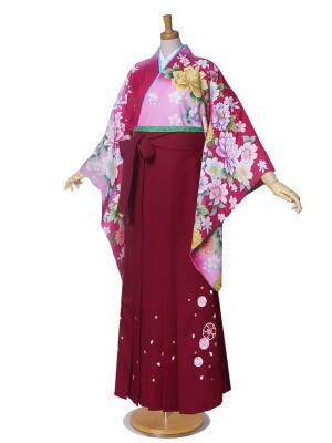 ジュニア 絵羽柄 二尺袖 着物 袴 牡丹 桜 花柄