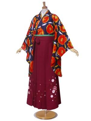 二尺袖 着物 袴 ジュニア 紅一点 ポピー