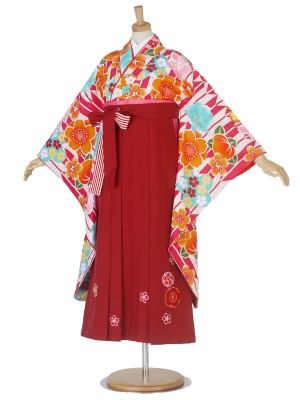 卒業式 二尺袖 小町kids 袴 フルセット 刺繍 青 赤