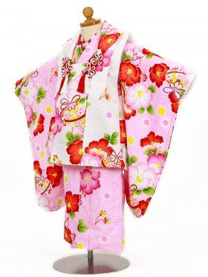 七五三(3歳女被布)3064 ピンク地に椿(被布 白)