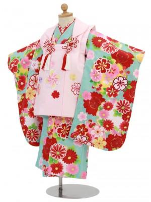 七五三(3歳女被布)3041 水色地に雪輪と桜