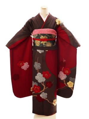 振袖2216振袖グレー地赤流水桜花弁