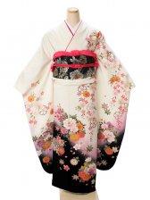 振袖2261振袖白地裾黒ぼかし枝垂れ桜